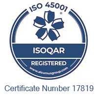 ISOQAR 45001 accreditation certificate number 17819
