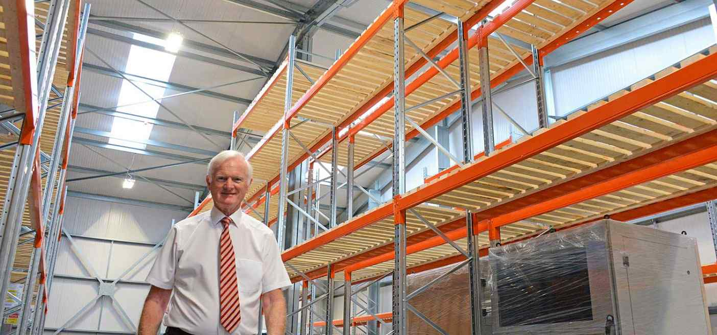 Chairman John Whitehouse in the smart new factory extension at Weatherite's head office in West Bromwich